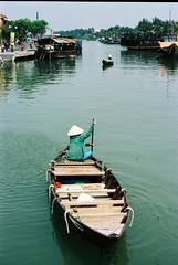 Water Taxi (peter stewart photography) Tags: film lady 35mm river boat kodak taxi an vietnam portra hoi
