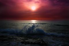 sunset in Tel-Aviv beach (Lior. L) Tags: travel sunset sky beach nature israel telaviv wave splash sunsetintelavivbeach