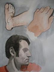 Self-Portrait (JeremiahGC) Tags: selfportrait man foot hand watercolorportrait