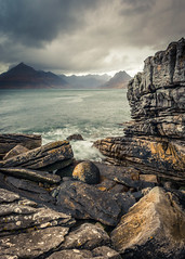 A Storm is Brewing (Dave Fieldhouse Photography) Tags: seascape storm black mountains skye clouds island scotland rocks isleofskye boulder ridge the elgol cullens joecornish stormabigail
