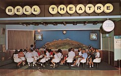 "Bell ""Space World"" Theater, Museum Of Science & Industry, Chicago, Illinois (SwellMap) Tags: architecture vintage advertising design pc 60s fifties postcard suburbia style kitsch retro nostalgia chrome americana 50s roadside googie populuxe sixties babyboomer consumer coldwar midcentury spaceage atomicage"