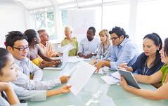 Diverse Business People Working Together in Office (yetitheme) Tags: people inspiration men businessman training table person corporate marketing office team education women adult african laptop room board group working descent young meeting social professional communication business seminar workshop document conference worker presentation discussion ethnic success organization issues partnership leadership strategy connection multi communications global finance teamwork caucasian occupation expertise businesswoman multiethnic