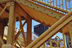 Steel City (Hi-Fi Fotos) Tags: city urban detail yellow stairs nikon downtown pittsburgh geometry steel steps railing ussteel upmc d5000 hallewell hififotos