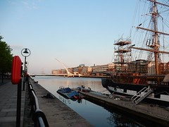Tall Ship on the Liffey (mikecogh) Tags: dublin scaffolding mast tallship riverliffey gangway samuelbeckettbridge