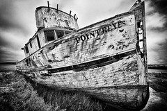 Abandoned (AjayGoel2011) Tags: world sanfrancisco bw usa color texture abandoned monochrome landscape boat nikon decay explore creativecommons pointreyes nikkor decisivemoment moored ajaygoel flickriver