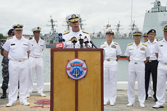 Adm. Scott Swift holds a press conference at the start of RIMPAC 2016.