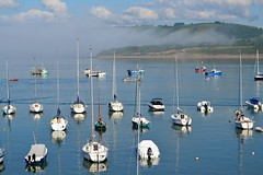 New Quay bay (karen leah) Tags: fog boats harbour newquay ceredigion