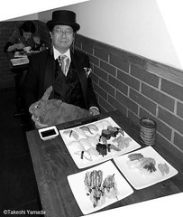 Dr. Takeshi Yamada and Seara (Coney Island Sea Rabbit) at the Sake Japanese sushi buffet restaurant in Brooklyn, NY on March 30, 2016.  20160330 Wed. 1 DSCN4852=rp-2010c2BW. Sake Japanese buffet restaurant, assorted sushi and sashimi. (searabbits23) Tags: searabbit seara takeshiyamada  taxidermy roguetaxidermy mart strange cryptozoology uma ufo esp curiosities oddities globalwarming climategate dragon mermaid unicorn art artist alchemy entertainer performer famous sexy playboy bikini fashion vogue goth gothic vampire steampunk barrackobama billclinton billgates sideshow freakshow star king pop god angel celebrity genius amc immortalized tv immortalizer japanese asian mardigras tophat google yahoo bing aol cnn coneyisland brooklyn newyork leonardodavinci damienhirst jeffkoons takashimurakami vangogh pablopicasso salvadordali waltdisney donaldtrump hillaryclinton polarbearclub
