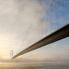 Bridge in mist (martinpostance1) Tags: instagramapp square squareformat iphoneography uploaded:by=instagram humberbridge humber bridge mist river architecture weather fog cloud lincolnshire