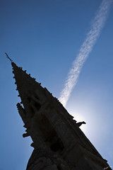 Tower and gargoyle in a shadow (Laph95) Tags: church glise tower clocher gargouille gargoyle sky blue ciel bleu light lumire shadow ombre bretagne france religious