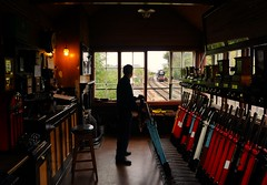 All in a days work (gooey_lewy) Tags: 34027 taw valley bulleid west country class pacific 462 rebuilt british railways br southern rail train steam engine loco locomotive tender severn railway svr martin creese charter photographic man kent headboard viaduct signal box interior