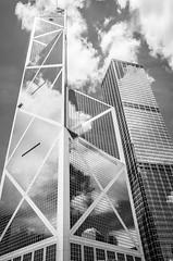 Bank of China (Phillies182) Tags: china bw building architecture hongkong blackwhite scenery asia central financialdistrict 1990 hongkongisland bankofchina gardenroad financestreet impeipartners hongkongpic