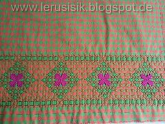 Chicken Scratch orange-pink (lerusisik) Tags: embroidery wip plaids chickenscratch