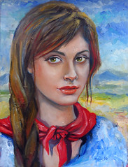 red scarf (anna lobello) Tags: red portrait scarf paint rosso oilpainting olio dipinto fazzoletto