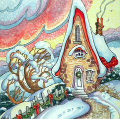 Rosy Winter Dawn Storybook Cottage Series (cottagelover1953) Tags: christmas winter house snow rabbit bunny home watercolor cottage retro nostalgic bungalow whimsical landscapepainting vintagecottage winterpainting christmaspainting storybookcottage