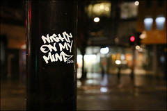 Night On My Mind (Alex Ellison) Tags: urban graffiti sticker boobs tag graff centrallondon nightonmymind
