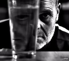 A glass full of ideas ! (CJS*64) Tags: portrait bw me water glass monochrome face mono blackwhite nikon cjs 50mmf18lens selfi 50mmnikkorlens nikond3100 craigsunter cjs64