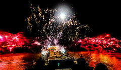 Cromer New Year Fireworks 2015 (mark.tucker9) Tags: ocean uk light red sea colour reflection water night gold coast pier bright theatre fireworks smoke north norfolk explosion newyear east celebration pavillion cromer anglia fireworkscromer2015