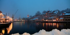 Zrich in the snow (pinkpixel (Slava)) Tags: city longexposure winter urban white snow cold beautiful architecture night river lights switzerland lowlight europe pretty cityscape swiss framed awesome zurich story le citylights nightsky zrich snowfall zuerich magnificent slava stpeter limmat nightpanorama swizzera schipfe snowflackes switze svetoslavaslavova rudolfbrnbrcke rudolfbrunbridge