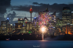 Sparkler. (God_speed) Tags: new city sunset sky water skyline wales night clouds point lights twilight nikon long exposure angle zoom fireworks harbour dusk south wide sydney violet australia telephoto nsw tele nikkor cremorne 2015