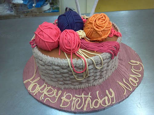"""A birthday cake for a special lady who knits! • <a style=""""font-size:0.8em;"""" href=""""http://www.flickr.com/photos/50891271@N03/16162290147/"""" target=""""_blank"""">View on Flickr</a>"""