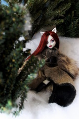 Prehistoric Couture and the Fur Conundrum (the_alien_experience) Tags: red woman snow black tree green girl fashion monster werewolf fur grey model boots cam evergreen elena faux create creature prehistoric reroot rehair ravie