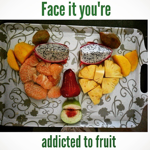 Face it, youre addicted to fruit.  Eyes: Dragonfruit  Eyebrows: Sapodilla  Nose: Rose apple  Left Cheek: Pomelo melon  Right Cheek: Pineapple  Ears: Sweet mango  Mouth: Guava  Tongue: Crystalized sweet and savory dipping sauce  #iLBB #iLBBandhealthy