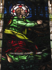 Detail of the Mrs. A. B. Wright Stained Glass Window Tribute to the Sacrifice of Women During the Two World Wars featuring Jesus in the Garden of Gethsemane; St Kilda Presbyterian Church - Corner Barkley Street and Alma Road, St Kilda (raaen99) Tags: building window glass saint architecture religious memorial wwi wwii religion jesus gothic 19thcentury victorian australia melbourne stainedglass victoria worldwarii worldwari 1940s victoriana bible warmemorial greatwar 1886 stainedglasswindow stkilda biblical 1949 presbyterian secondworldwar nineteenthcentury gothicarchitecture placeofworship 1880s gothicchurch gospels gothicbuilding presbyterianchurch gothicstyle twentiethcentury almaroad ralphwilson melbournearchitecture gothicrevivalarchitecture religiousbuilding gothicrevivalstyle navewindow bookofmatthew almard barkleyst malesaint gothicrevivalbuilding inmemorandum barkleystreet stkildachurch jesusinthegardenofgethsemane architecturallydesigned gothicrevivalchurch boomperiod brooksrobinsonco stkildapresbyterianchurch johnbeswicke gothicdetail memorialstainedglass twentiethcenturystainedglass brooksrobinsonandco brooksrobinsoncompany mrsabwright mrsabwrightmemorialwindow mrsabwrightmemorialstainedglasswindow wilsonandbeswicke presbyterianchurchofstkilda wilsonbeswicke