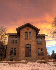 Morrison Public School Established 1875 (Bridget Calip - Alluring Images) Tags: winter sunset snow colorado limestone schoolhouse morrison frontrange twostory copyrighted mountainschool 1875 2015 jeffersoncounty dramaticclouds educationalinstitution bridgetcalip alluringimagesllc morrisonstonelimetowncompany