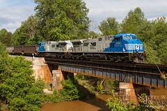 Bridge Over Muddy Water (jwjordak) Tags: bridge trees train river us unitedstates mud ns northcarolina norfolksouthern 4001 mayodan coaltrain ac44c6m train756