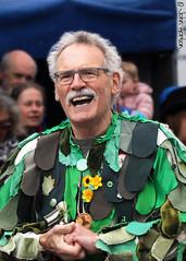 Clun Green Man Festival 014 - Morrisman leader (Row 17) Tags: uk greatbritain portrait england people men festival shropshire dancers unitedkingdom britain streetscene event gb entertainer clun entertainers morrismen