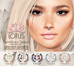 LOTUS. Gems&Lace Septum (LOTUS. & Ugly Duckling) Tags: life new original colors beautiful beauty diamonds necklace store eyes mesh lotus ad pearls advertisement sl second pro bracelets jewels hud brand gems options septum jewellry advertise gacha gatcha