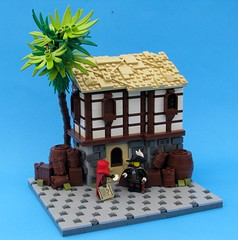Quest for the Fountain of Youth - Part I - Striking The Deal (Robert4168/Garmadon) Tags: brown white tree brick stone wall lego barrels courtyard tudor palm seas the brethren of