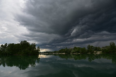 Few minutes before rain (Tomislav Bicanic) Tags: lake storm reflection water rain clouds landscape dusk croatia zajarki nikond750