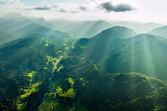 Bavaria (pfn.photo) Tags: mountains alps green backlight landscape bayern bavaria aerial alpen sunrays gegenlicht luftaufnahme vonoben