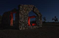 desert chapel (Karol Franks) Tags: county ca longexposure sky moon lightpainting abandoned church rock stone losangeles desert joshuatree chapel full moonlit socal lancaster antelopevalley