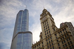 Glass Tower, Clock Tower (cookedphotos) Tags: travel summer sky chicago building tower clock tourism architecture canon high streetphotography wrigley trump 5dmarkii