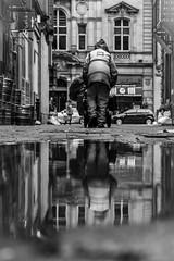 Clearing:Up [explored] (BazM:Photog.......:-)) Tags: street bw reflection blancoynegro manchester puddle blackwhite backstreet explore reflected streetphoto realism streetcleaner manchesterstreet streetcandid northwestengland explored refusecollection inexplore shitbritain newreality manreflected bazmatthews