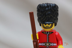 Trooping the Colour (Neyol) Tags: life red brown black color colour macro field hat yellow canon landscape soldier still lego bokeh rifle guard blurred depth bearskin guardsman 70d canon70d
