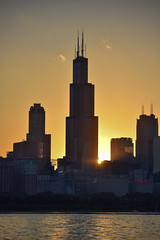Sears Tower Silhoutte (alexgeorgeny) Tags: ocean sunset summer sun lake chicago green tower water grass fog skyline skyscraper spring nikon sears chase lightpole d3200 d5100