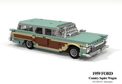 Ford 1959 Country Squire Wagon (lego911) Tags: ford galaxy country squire wagon estate woody 1950s classic v8 chrome auto car moc model miniland lego lego911 ldd render cad povray family foitsop