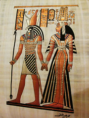 Traditional Egyptian Art: Pharoah King and Queen (shaire productions) Tags: egypt egyptian image picture photo photograph travel outdoor art artwork traditionalart photography painting papyrus design