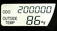 Never before would I have believed I would someday own a vehicle for the entirety of its 200,000 miles (Lee Bennett) Tags: car 200 pontiac miles mileage odometer thousand milestone vibe 200000 200k