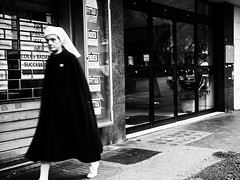 The nurse (mr.reverend) Tags: nurse infermiera religious street candid urban bw bn monocromatico monochrome biancoenero blackwhite roma citt city strada olympus epl3