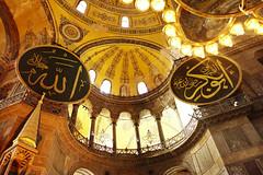Interior of Hagia Sophia (Cagsawa) Tags: church architecture turkey cathedral basilica islam religion pillar indoor istanbul mosque chandelier dome christianity fresco hagiasophia byzantine hagiasofia sultanahmet ayasofya ayasofia rx100