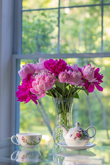 Tea and Peonies (just joani) Tags: tea peonies flowers garden sunroom light blooms blossoms pink