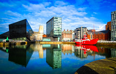 BRYAN_20160225_IMG_1696 (stephenbryan825) Tags: red reflection water glass architecture liverpool buildings boats graphic vivid dome threegraces vessels royalliverbuilding portofliverpoolbuilding lightboat selects mannisland planetliverpool