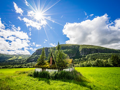 A typical house in Norway (Richard Larssen) Tags: richard richardlarssen reflections sony scandinavia sky house tree sunstar sun a7ii alpha hemsedal telemark larssen landscape light norway norge norwegen nature sel1635z teamsony sonyalpha