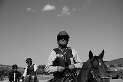 leading the racers out (DanJBailey) Tags: ruidosodowns horseracing portrait white black blackandwhite newmexico nm ruidoso downs horse horses thoroughbred race racing canon 60d