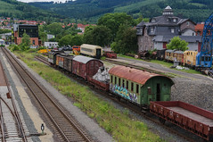 Reserve II (Alexander Pugatschewski) Tags: ilmenau thuringia germany city street cityscape houses signs cyclist pavement province quiet tranquility travel urban train wagon locomotive rails sleepers arrow railroad tank depot